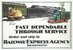 939A Railway Express Agency Tin Over Cardboard Sign