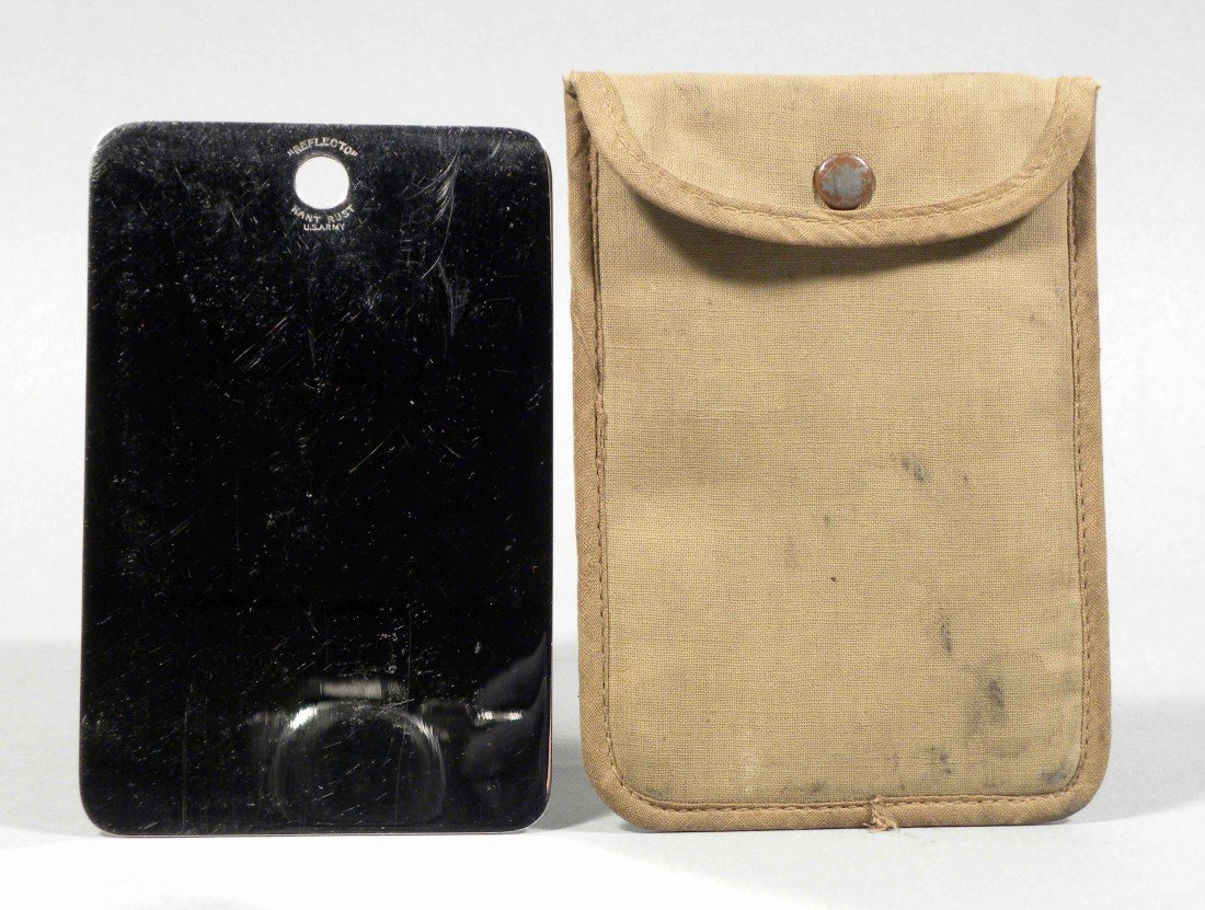 1302: Military Reflector Mirror in Canvas Pouch