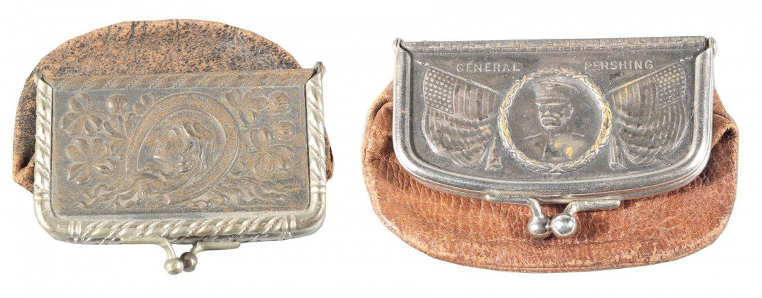 1304: 2 Early Leather Advertising Coin Purses