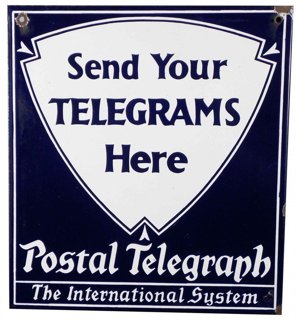 1308: Postal Telegraph Porcelain Flange Sign