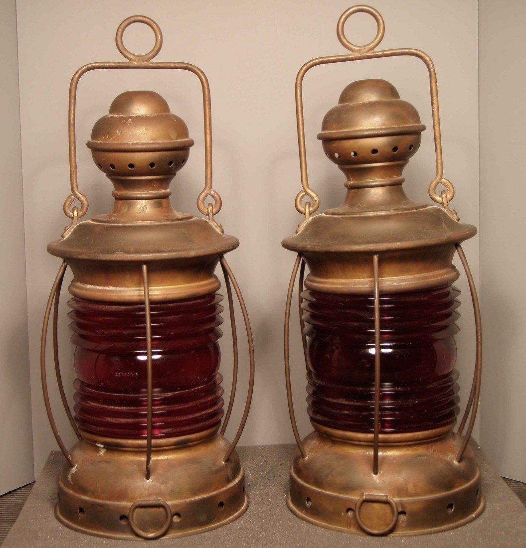1309: 2 Brass Ship Lanterns