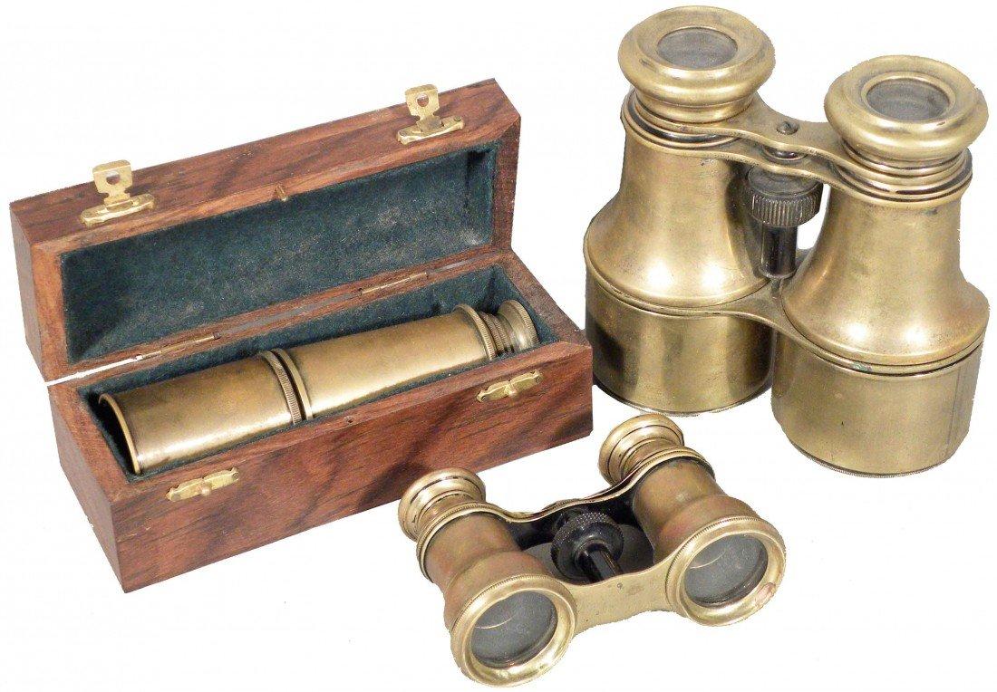 1311: 2 Brass Binoculars and Brass Telescope