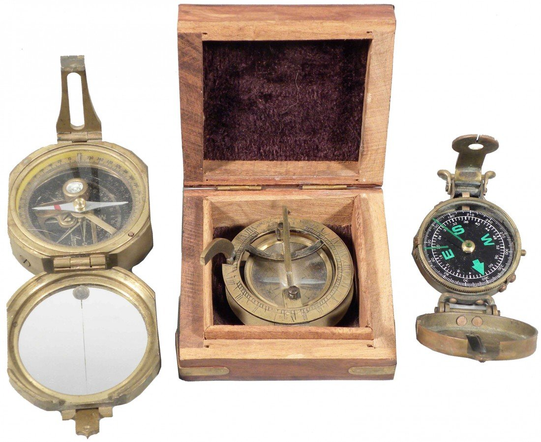 1313: 2 Brass Compass' and Brass Sextant in Wood Box