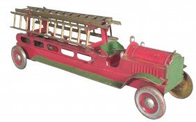 Structo Pressed Steel Fire Ladder Toy Truck