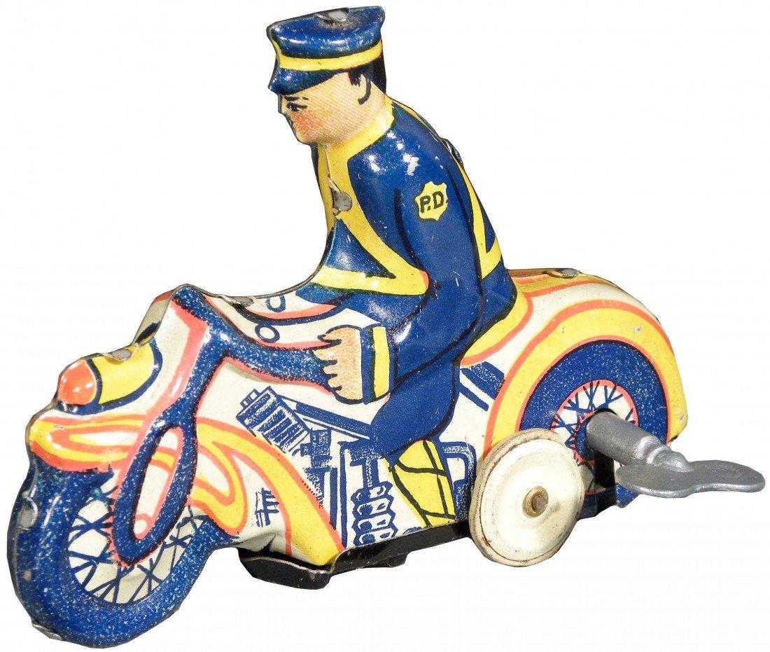 1551: Louis Marx Toys Tin Wind-Up Motorcyclist P.D.
