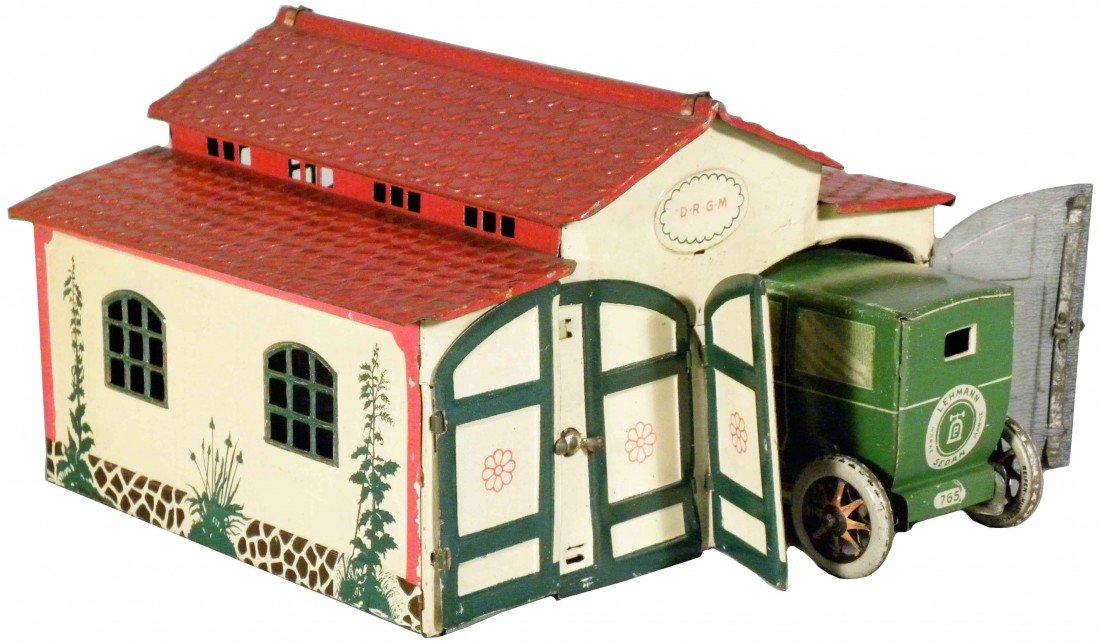 1558: Tin Tot Garage with Wind-Up Sedan