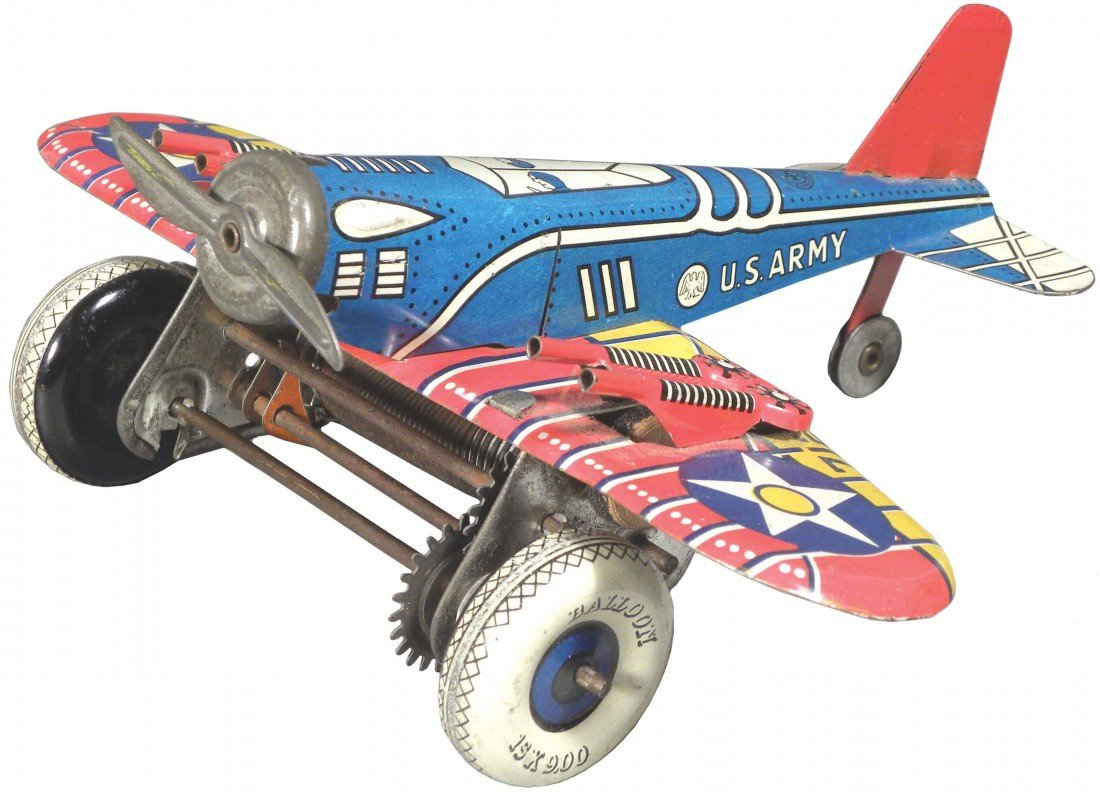 1564: Louis Marx Toys Tin Wind-Up Airplane
