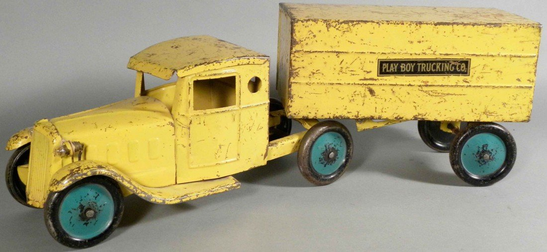 """1568: Pressed Steel """"Play Boy Trucking Co."""" Toy Truck"""