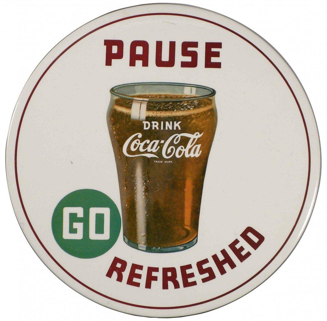 1772: Rare 1942  Coca Cola Celluloid Button Sign