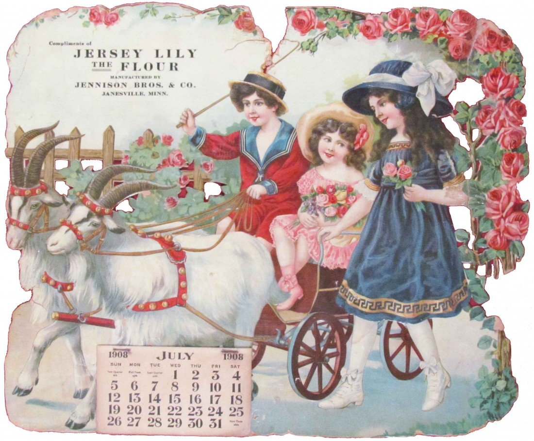 516: 1908 Calendar Compliments of Jersey Lily Flour