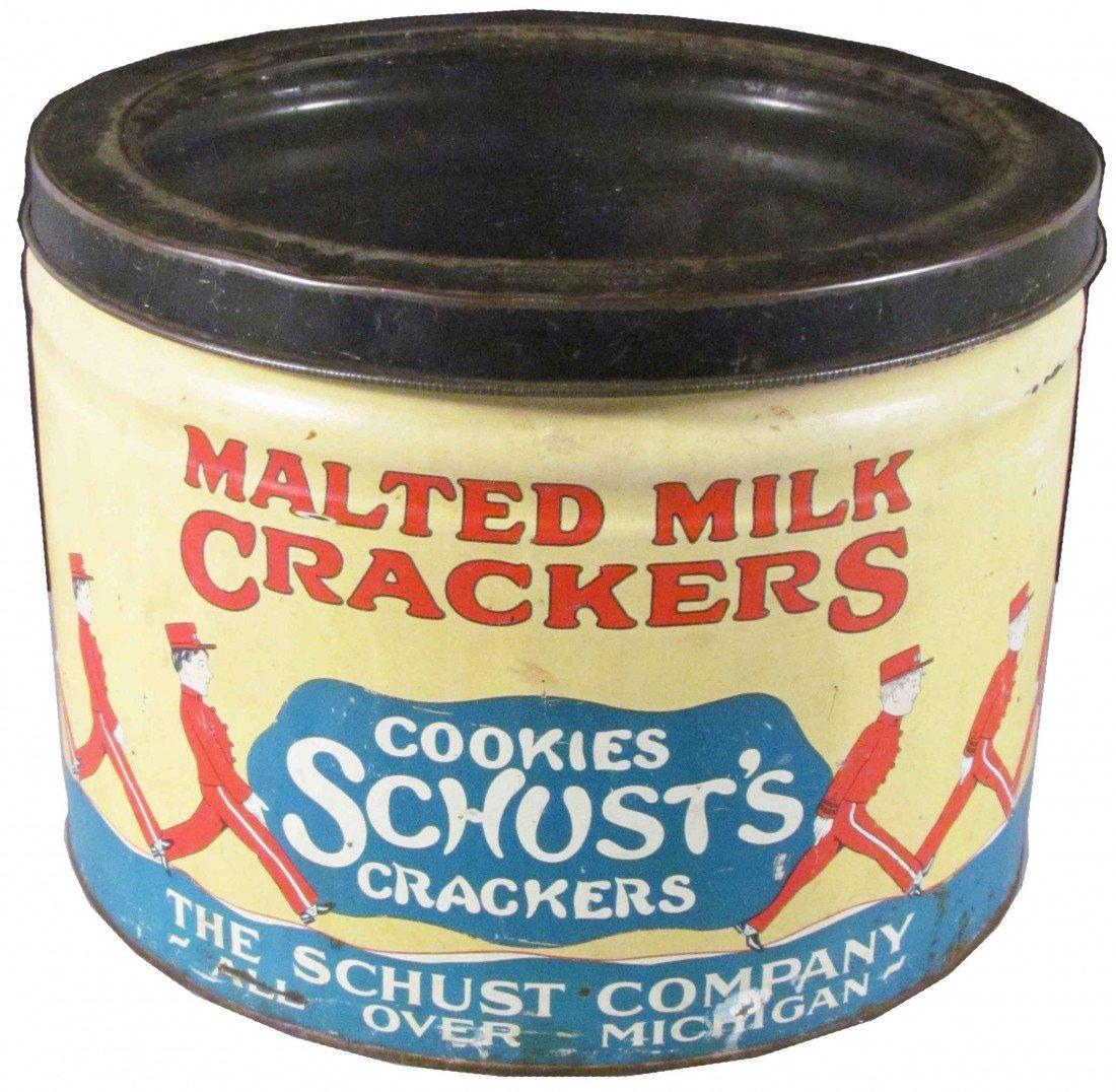 517: Schust's Malted Milk Crackers Store Tin