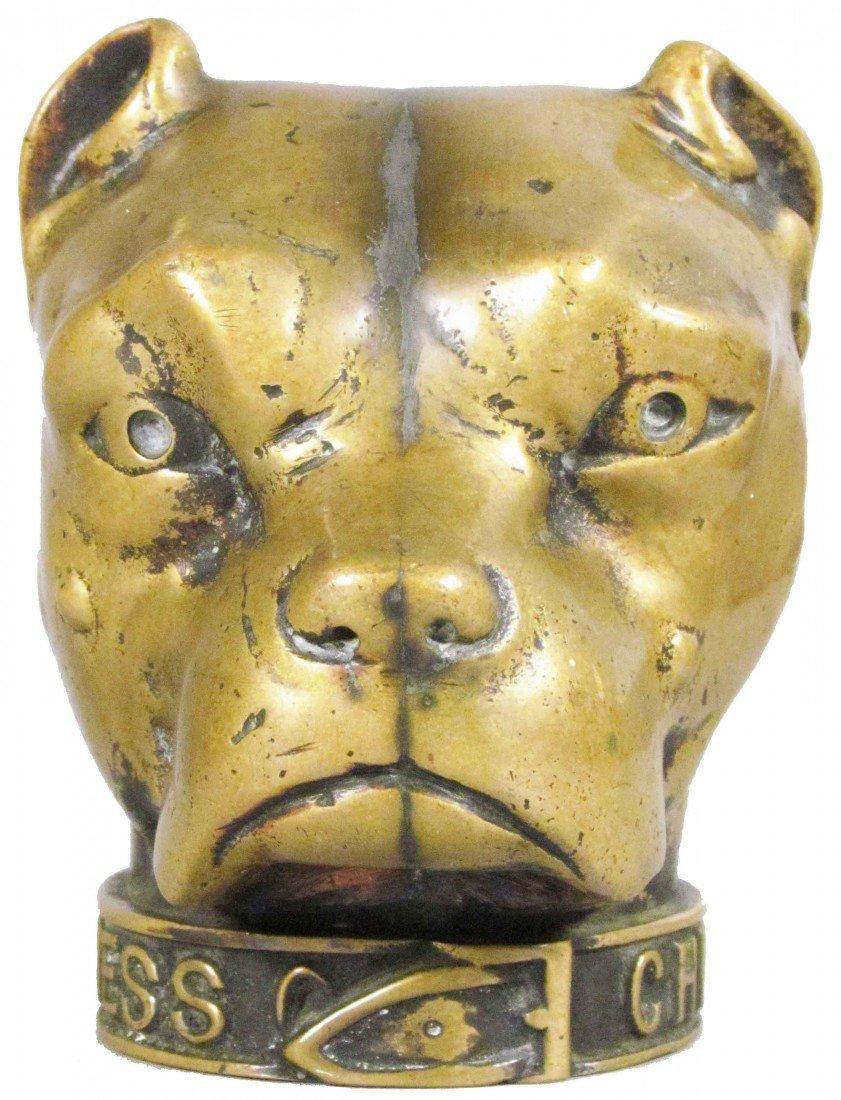 717: American Express-Chicago Brass Dog Head Finial