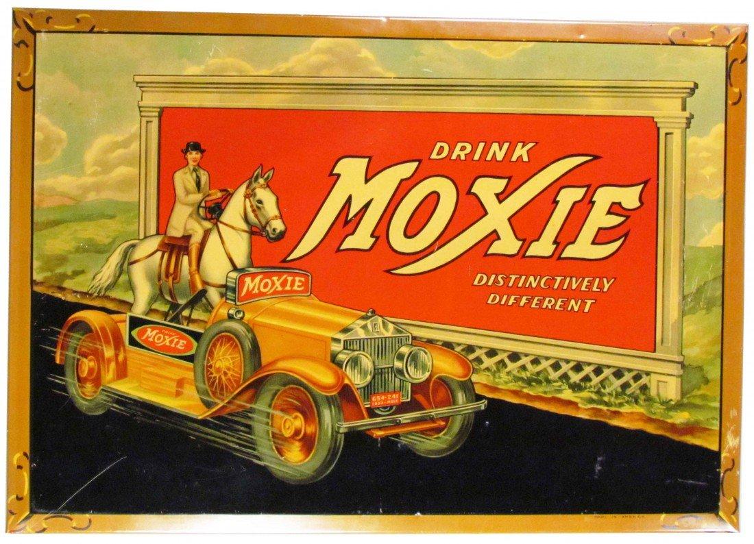 926: Moxie Self Framed Tin Over Cardboard Sign