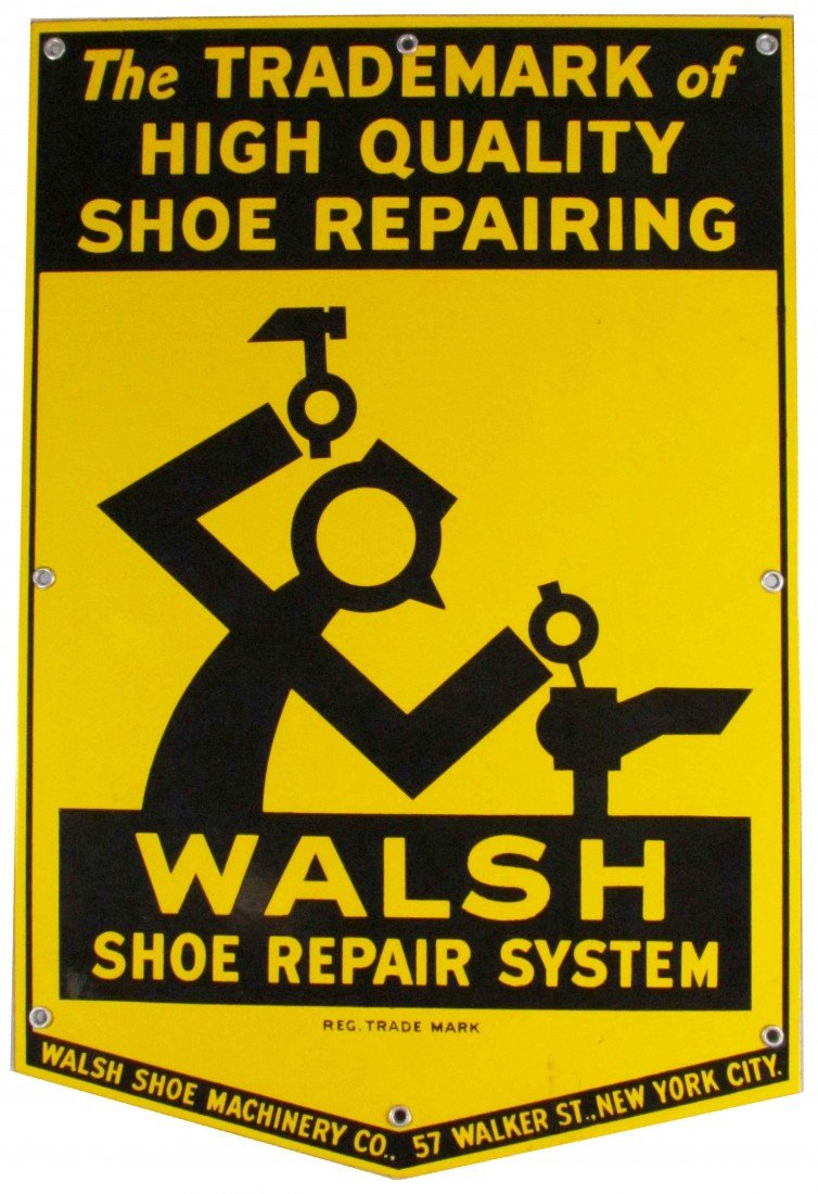 1188D: Walsh Shoe Repair System Heavy Porcelain Sign
