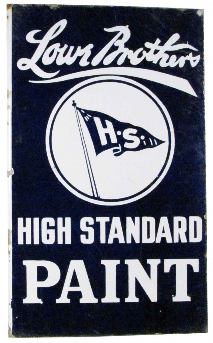 1304: Lowe Brothers Paint Porcelain Flange Sign