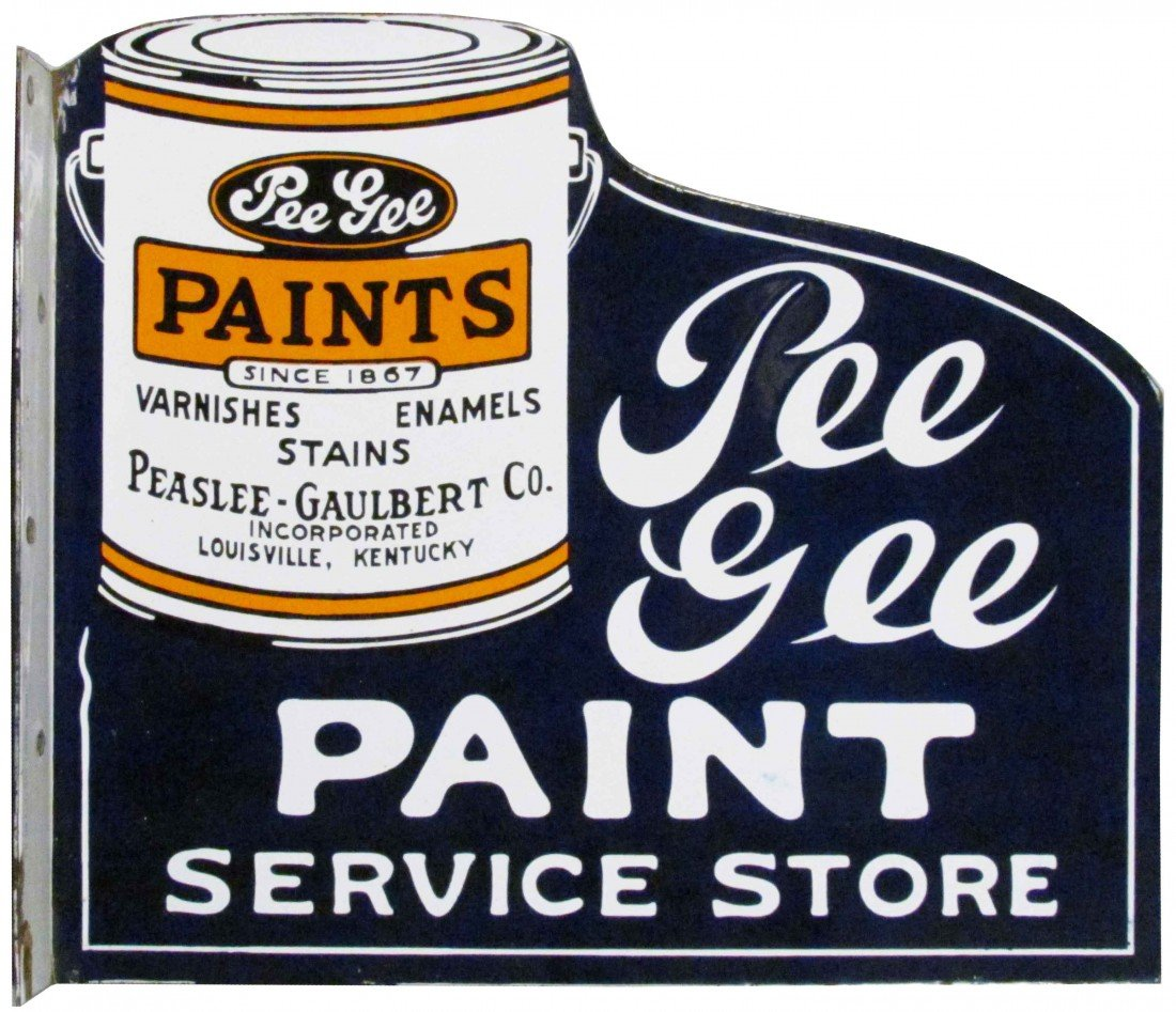 1318: Pee Gee Paint Service Store Porcelain Flange Sign