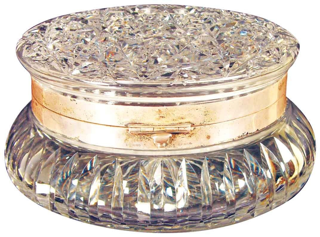 1320: Wave Crest Leaded Glass Dresser Box