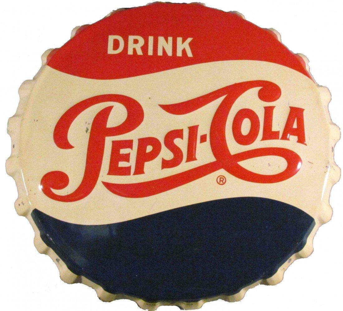 1377: 1956 Pepsi-Cola Bottle Cap Tin Sign