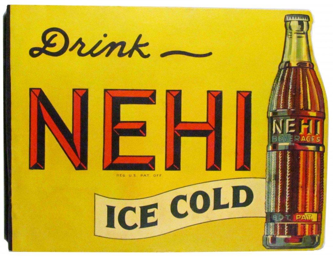 1381: Drink Ice Cold Nehi Steel Flange Sign