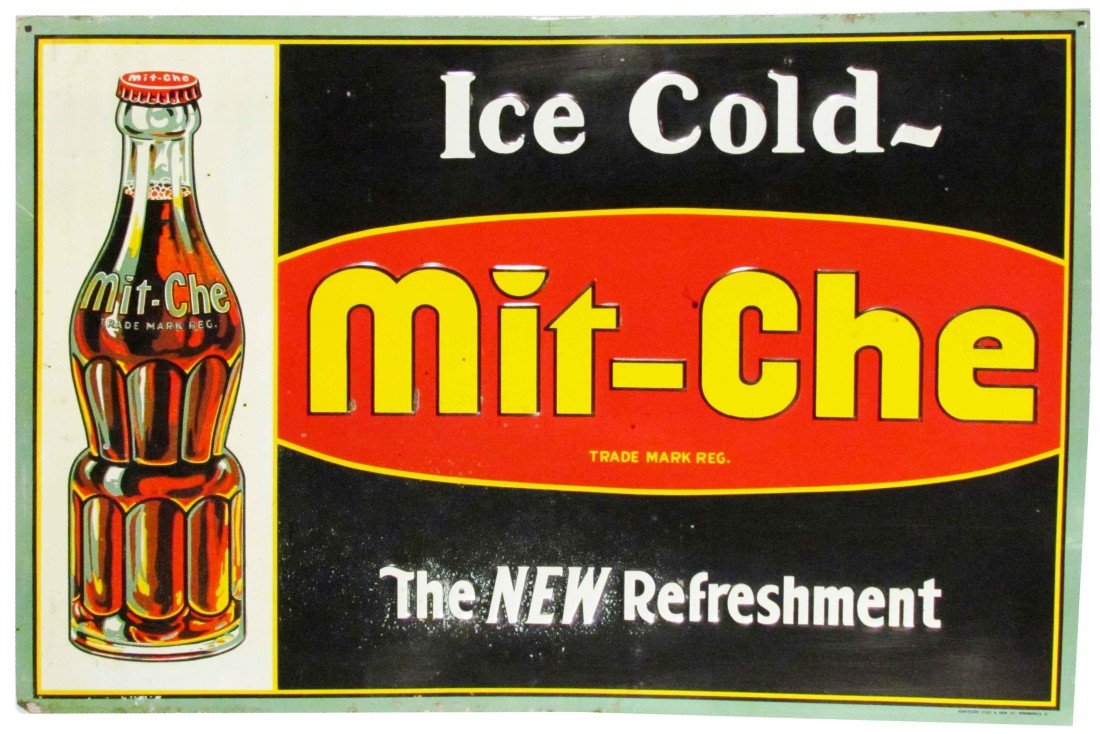 1382: Mit-Che Embossed Tin Sign