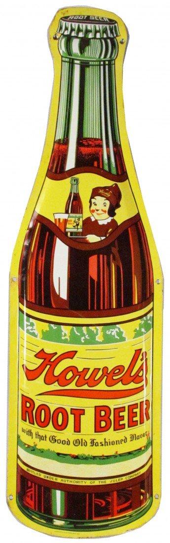 1382A: Howel's Root Beer Embossed Die Cut Tin Sign