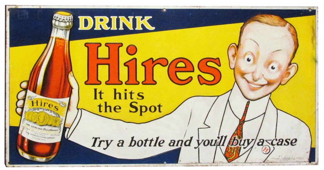 1386: Hires Embossed Tin Sign