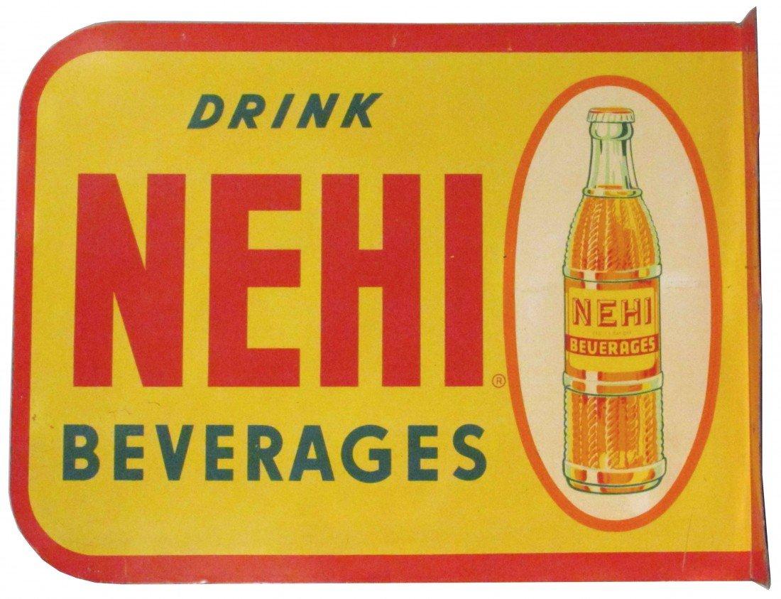 1394: Drink Nehi Beverages Tin Flange Sign