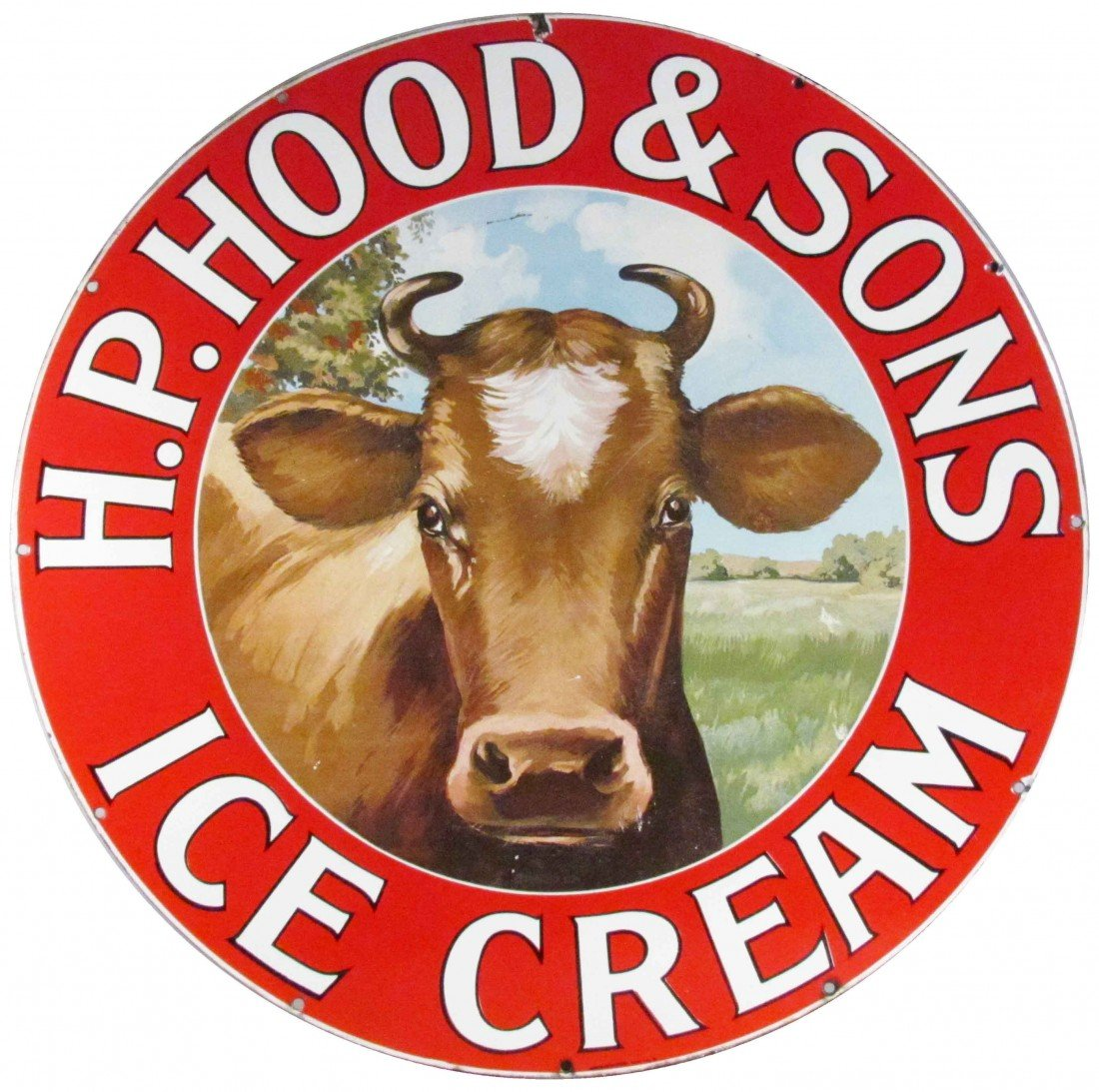 "1409: Extremely Rare H.P. Hood & Sons ""Ice Cream"" Sign"