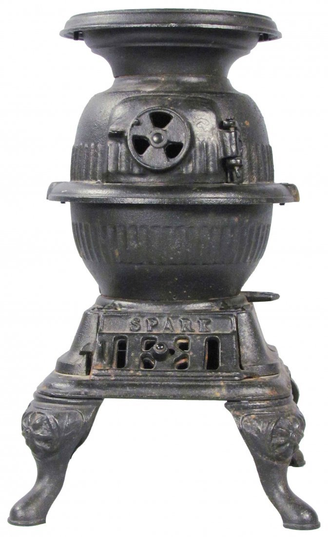 "603: ""Spark"" Cast Iron Pot Belly Child's Stove"
