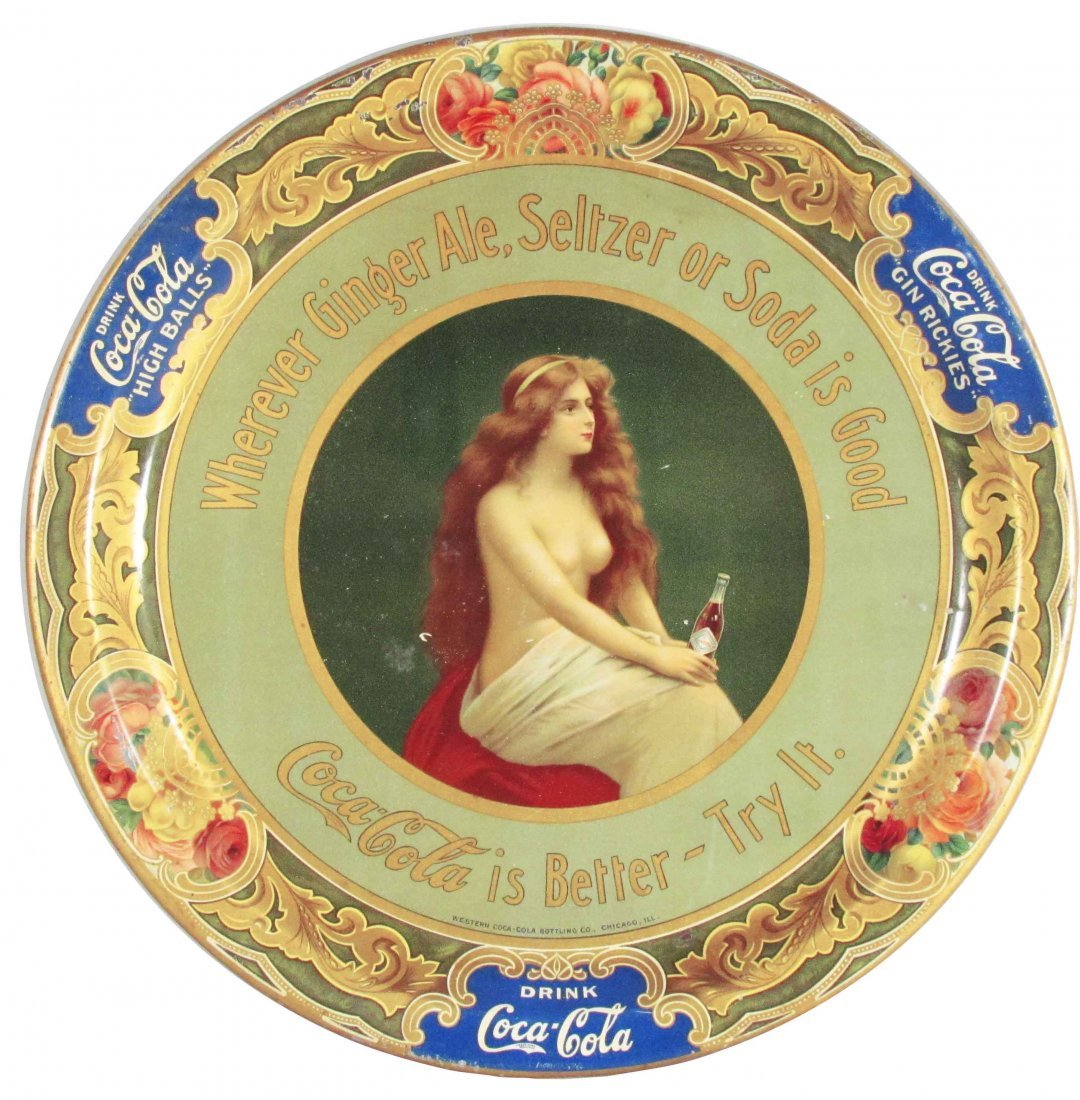 749: Extremely Rare Coca Cola Nude Tin Serving Tray