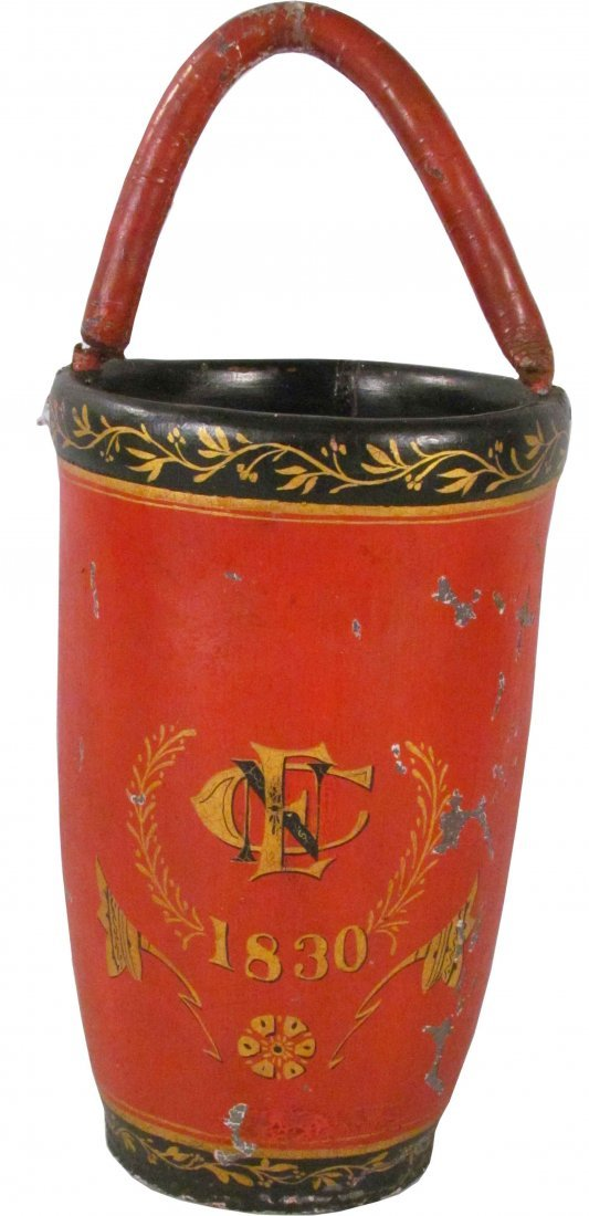 1301: Leather Painted Fire Bucket