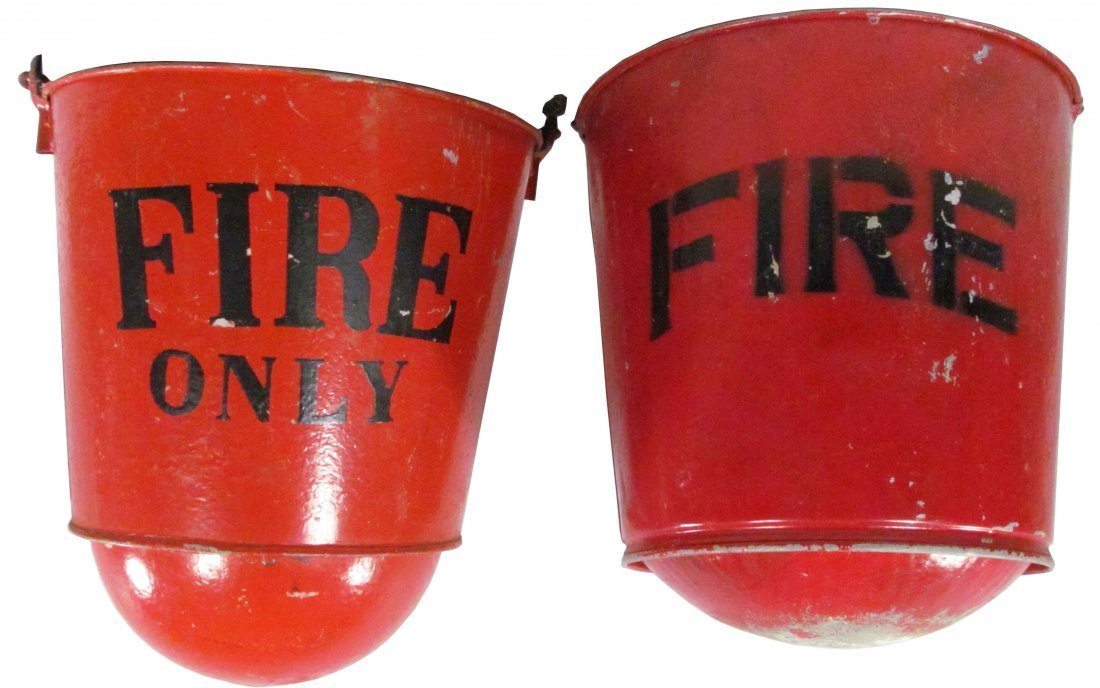 1312: Pair of Galvanized Red Industrial Fire Buckets