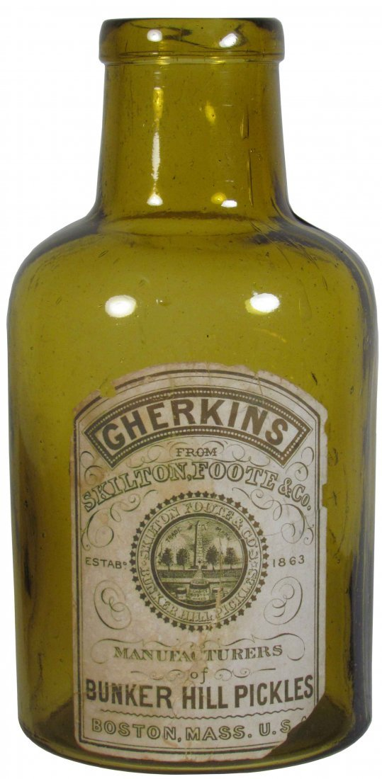 Bunker Hill Gherkins Pickles Amber Glass Jar
