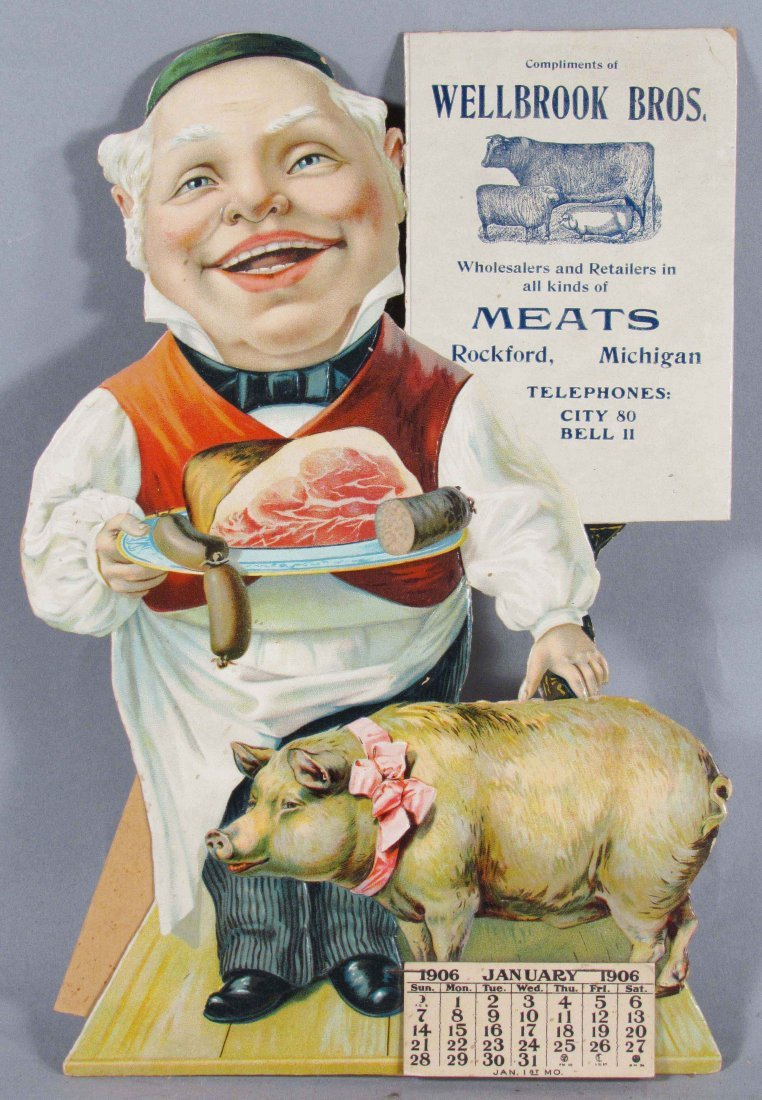 1906 Calendar for Wellbrook Bros. Meats