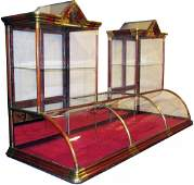 Rare 6 foot Double Tower Curved Glass Showcase