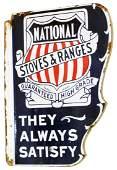 National Stove & Ranges Porcelain Flange Sign