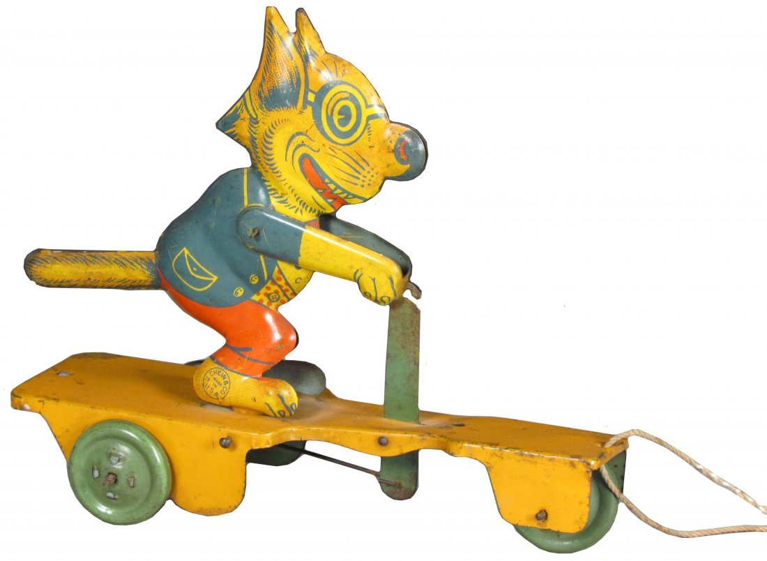 J. Chein & Co. Cat on Scooter Tin Pull Toy