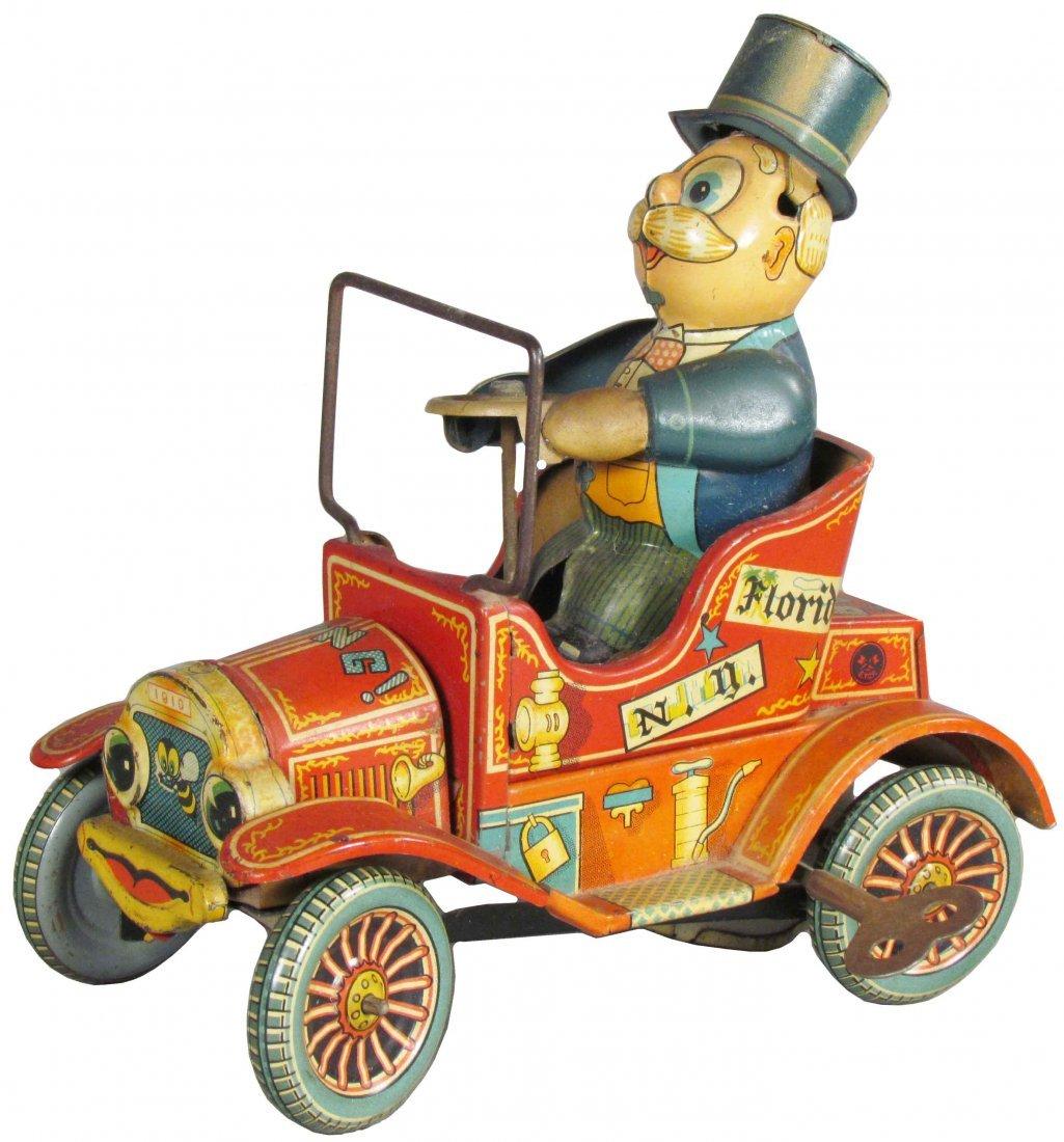 1910 Grandpa's New Car Tin Wind Up Toy