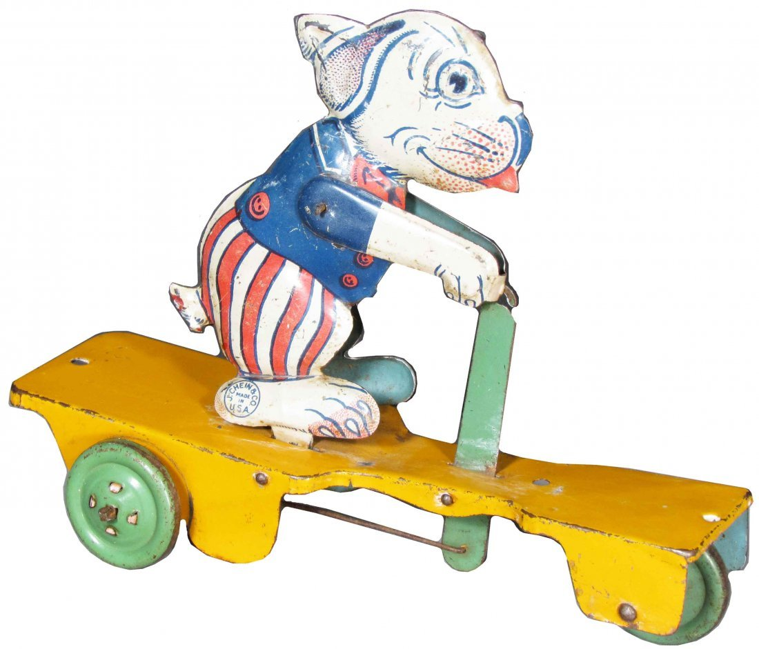 J. Chein Dog on a Scooter Tin Pull Toy