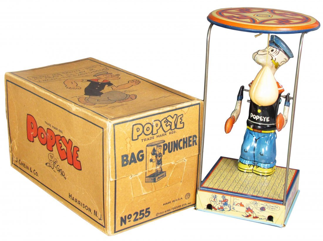 J. Chein Popeye Bag Puncher Tin Toy