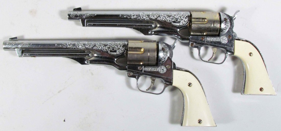 Two Hubley Colt 45 Die Cast Toy Cap Guns