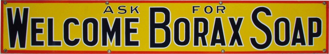 Welcome Borax Soap Porcelain Sign