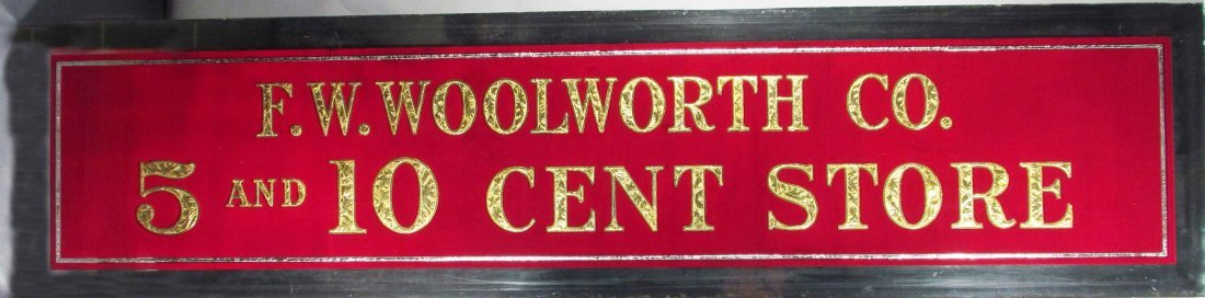 F.W. Woolworth Reverse Glass Sign