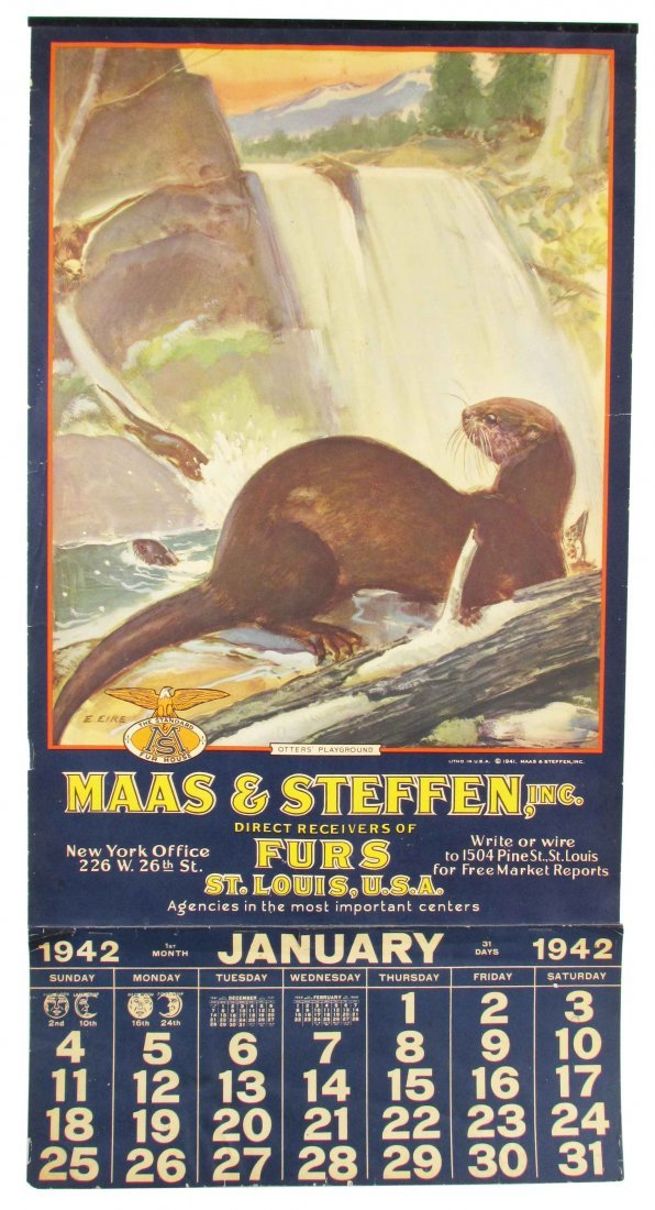 1942 Calendar for Maas & Steffen Co. Furs