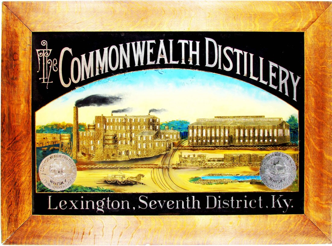 Commonwealth Distillery Reverse Glass Sign