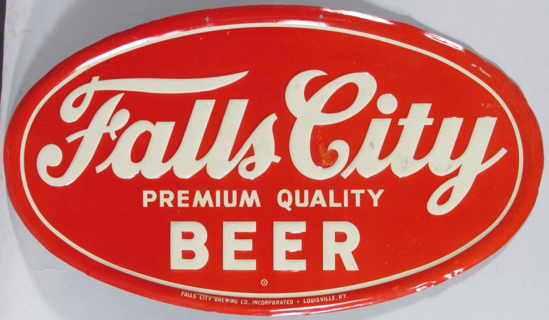 Falls City Beer Embossed Tin Sign