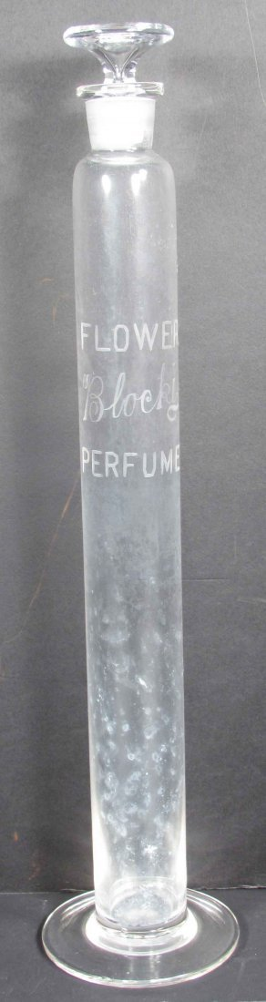 "Flower ""Blocki"" Perfume Etched Glass Bottle"