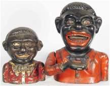 Two Black Americana Cast Iron Banks