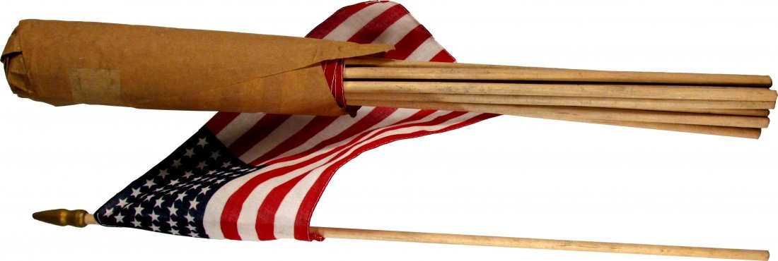 Thirteen Early Cloth American Flags