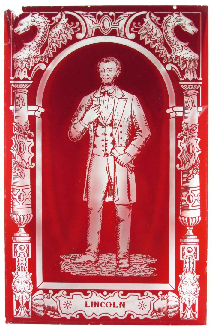 Etched Glass Door Panel Depicting Lincoln
